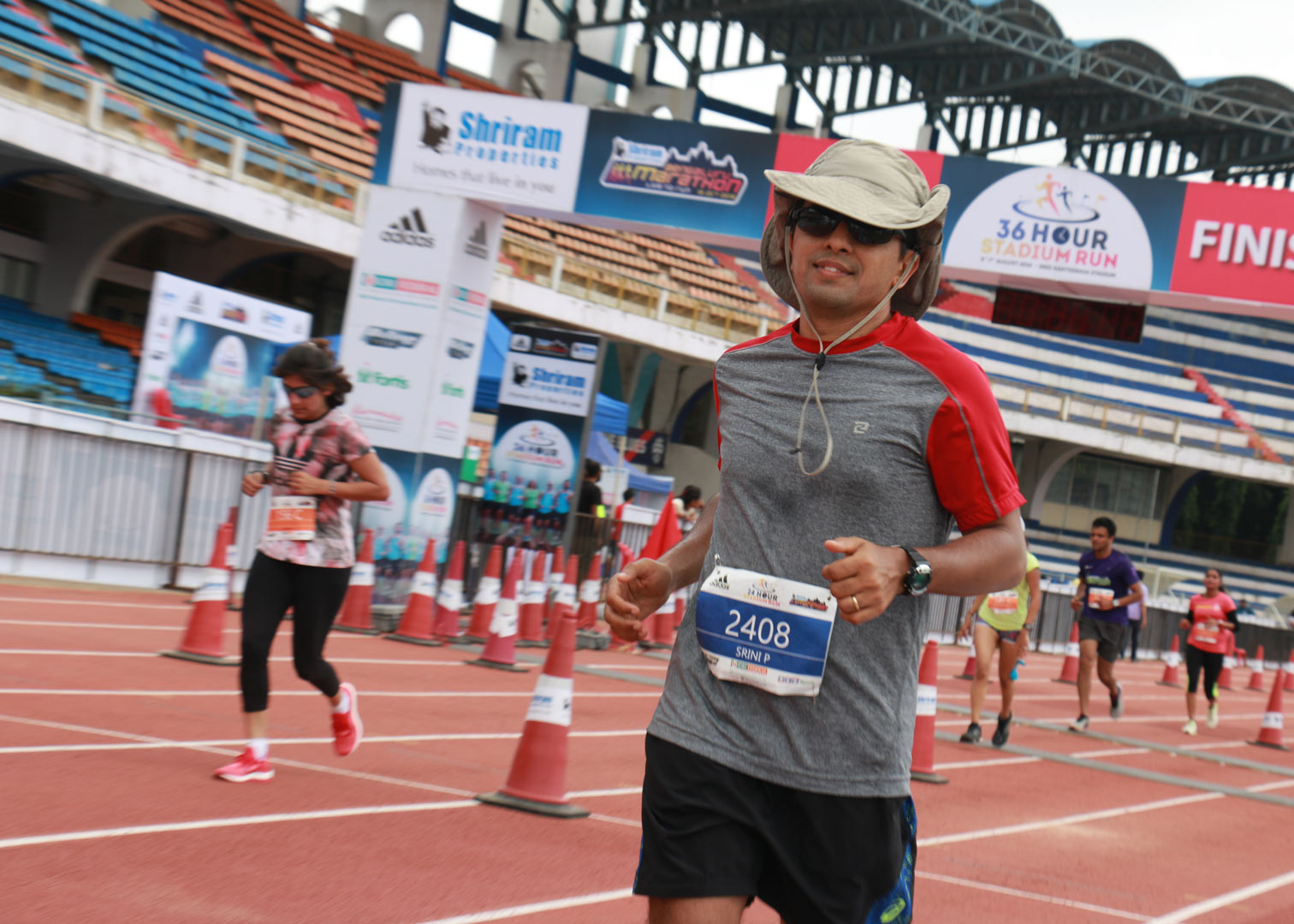 Runner Srini as chilled as ever during the 36 hour stadium run